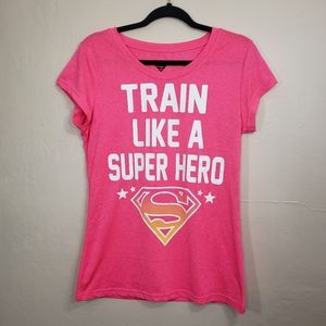 Juniors Train Like a Super Hero XL 15-17 Neon Pink